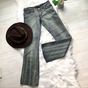 NWOT Duchesse Low Rise Boot Flare Distressed Jean